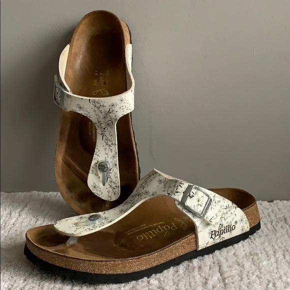 07952ae82265 Birkenstock Shoes - Birkenstock Papillio Gizeh White Gray flowers 39